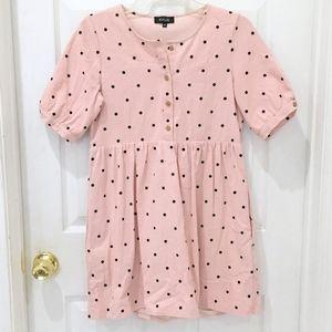 Roolee The Brandee Pink Polka Dot Midi Dress sz XS